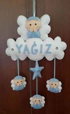 mavi beyaz keçe erkek bebek süsülü kapı süsü,nazr boncuklu erkek bebek kapı süsü Erkek Bebek Kapı Süsü ,