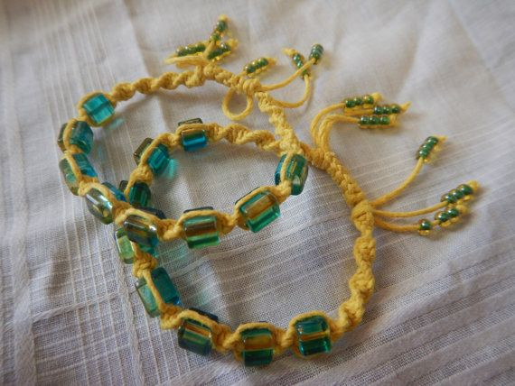 Gele hennep armband armband verstelbaar hennep door AudzNEndzHemp