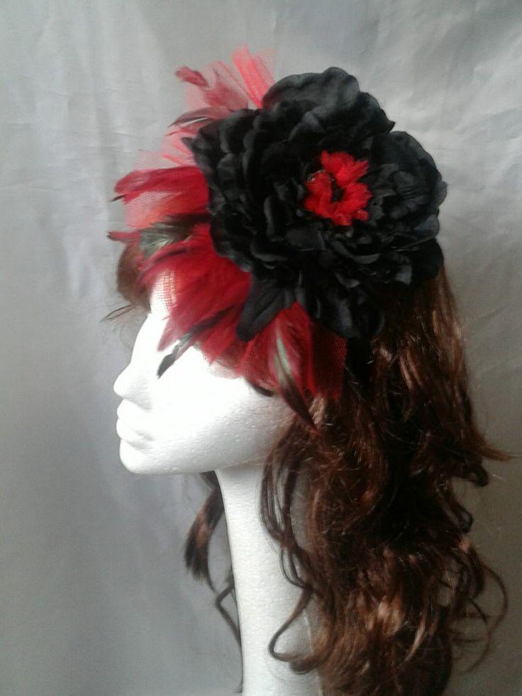Gothic, Burlesque Fascinator, Hat. Red & Black