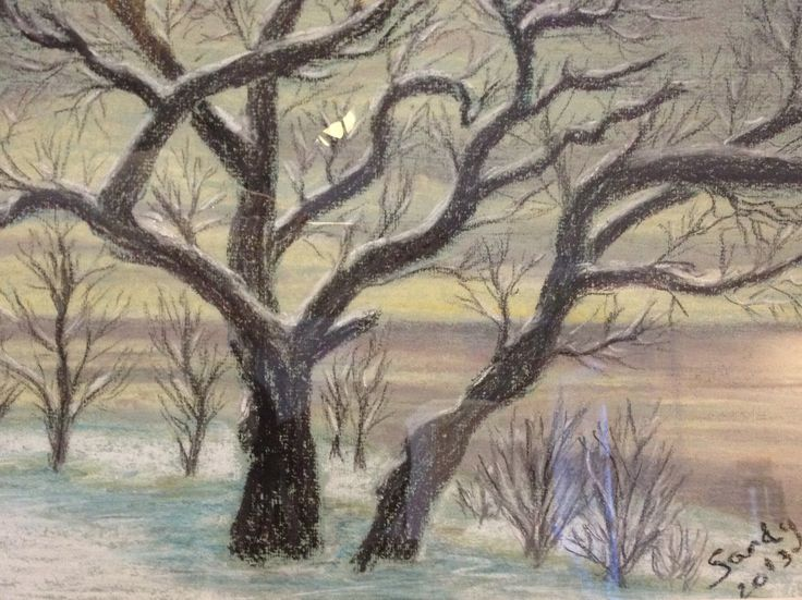 Winter Light. Soft pastel on paper. 24x30 cm. Copyright Sandy Rosenvinge Lundbye.