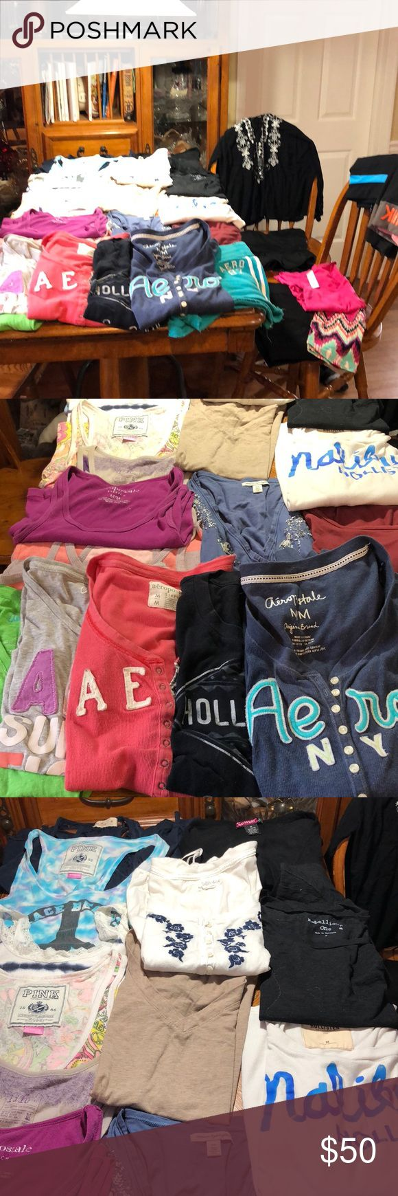 Over 25 Medium Items Of Clothing LOT Name Brand Over 25 Medium Items Of Clothing LOT Name Brands such as hollister, Aeropostale, AE, pink, & more.. no stains rips tears all in great shape better than you would expect for my proposed price, you won't get a deal like this again !!! There are tees a couple Long sleeve , some tanks some crop leggings mini skirts a pair of shorts and some dress tops Tops Tees - Short Sleeve