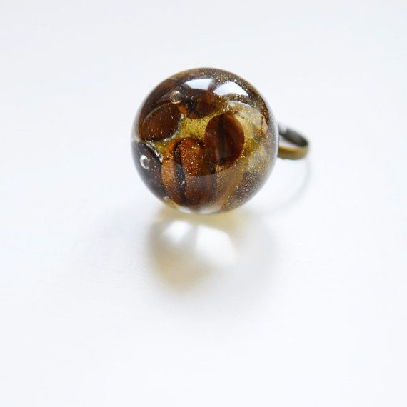Resin ring Gold coffee Resin large ball food Ring by MiyyoART, $25.00