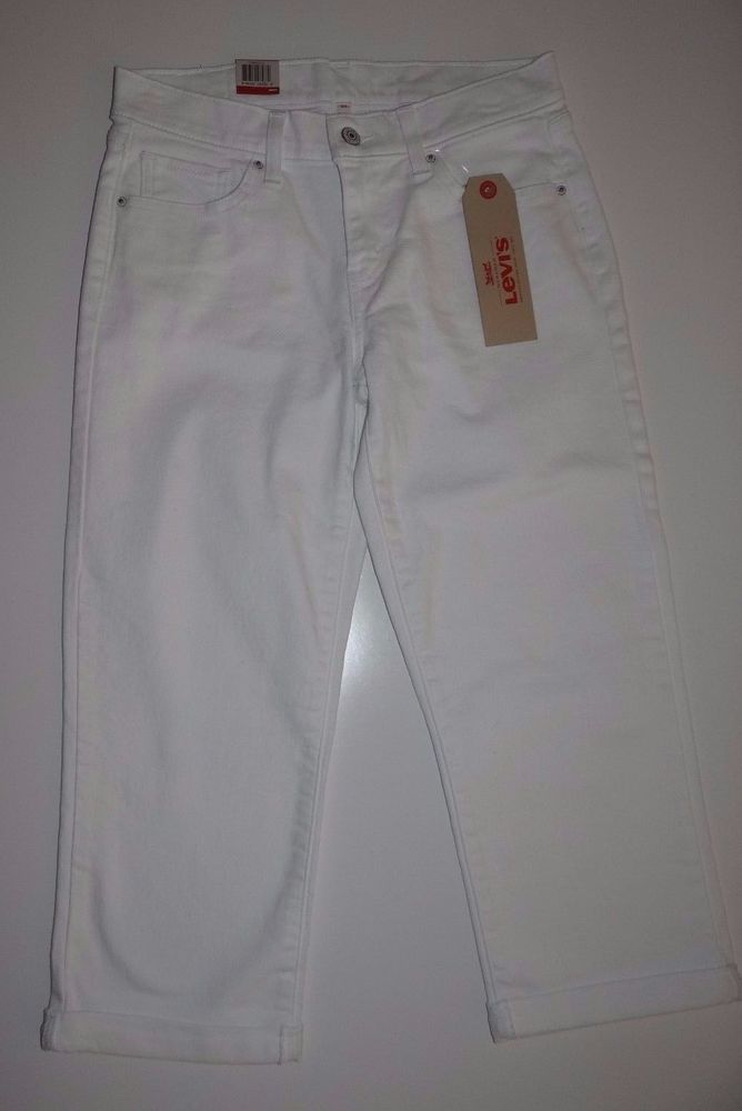NWT Levi's Women's White 100% Cotton Classic Capri Pants Bottoms Size 26 and 33 #Levis #CaprisCropped