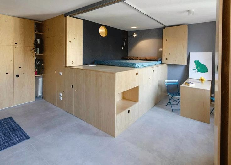 238 best micro living images on pinterest homes tiny for Design apartment 50m2