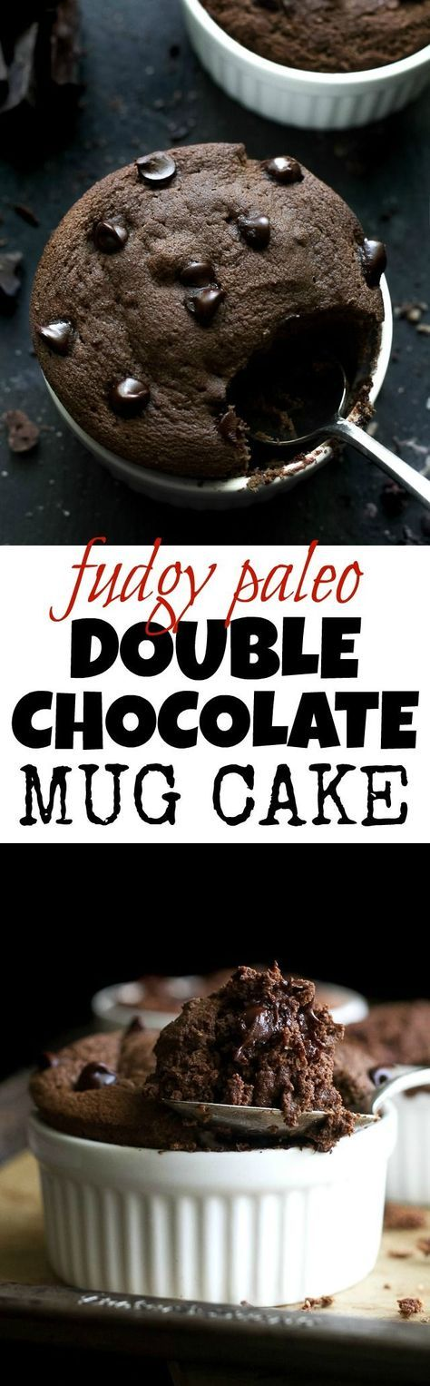Fudgy Double Chocolate Mug Cake - satisfy those chocolate cravings in a healthy way with this paleo mug cake! Ready in 5 minutes, it makes for a delicious grain-free treat that everyone will love| http://runningwithspoons.com