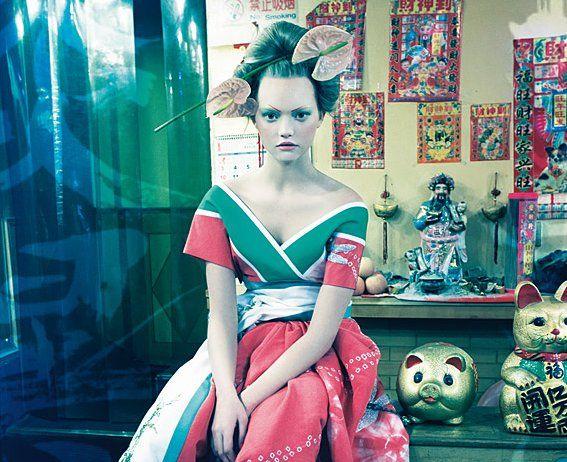 calendrier Pirelli, 2008 (modèle : Gemma Ward ; robe Dior Haute Couture)