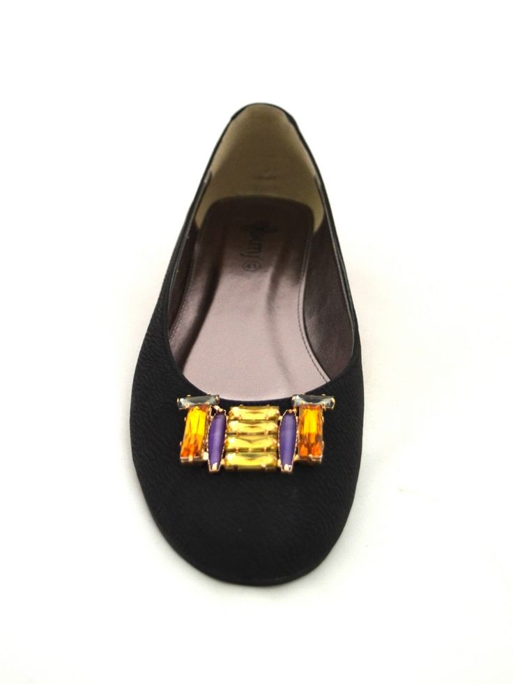 Black Ballet flat called Miranda with burnt orange bling to top it off! #kmjshoes. Also available in beige and dark grey.