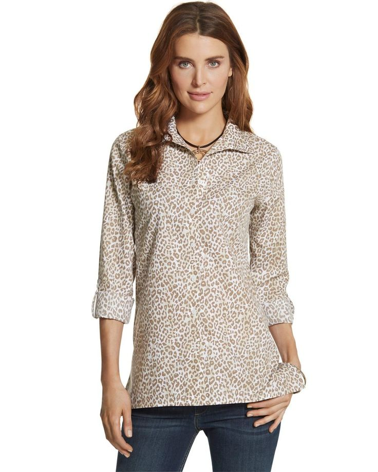 Chico's Women's Effortless Cayla Animal-Print Shirt