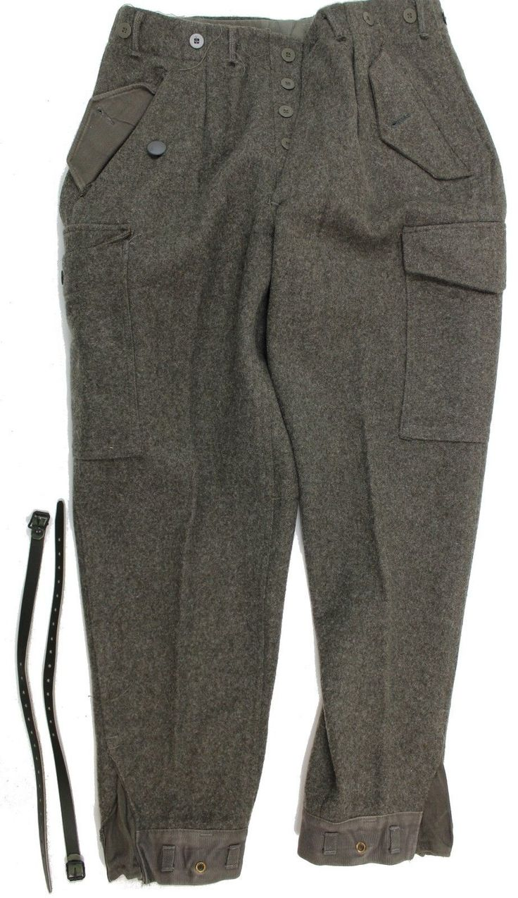 "(12) WW2 STYLE SWEDISH ARMY M39 COMBAT WOOL TROUSERS 32"" WAIST 