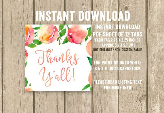 Thanks Y'all favor tags, Southern favor tags, Peach theme shower tags, Southern Bridal Shower, INSTANT DOWNLOAD, printable thank you tags
