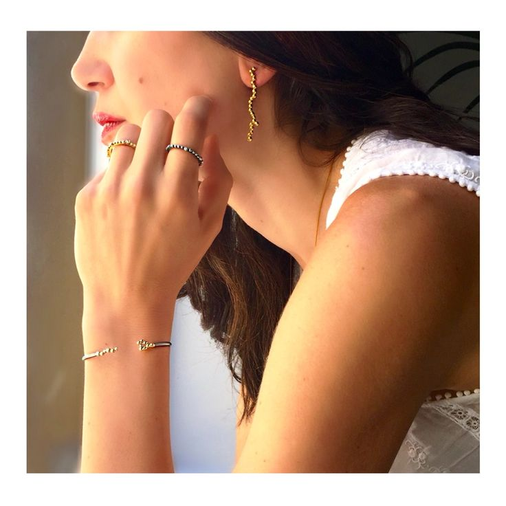Gold earrings, bracelet and rings from #dotscollection #huffyjewels  www.huffyjewels.com