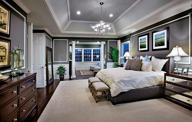 A tray ceiling is a rectangular or octagonal for Rectangular master bedroom