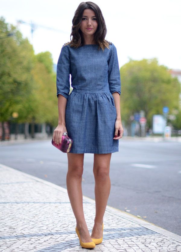 Resultado de imagem para Vestido jeans curto street style