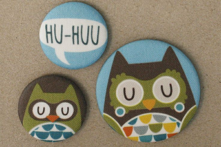 Eulen Stoff-Buttonset von käselotti auf DaWanda.com