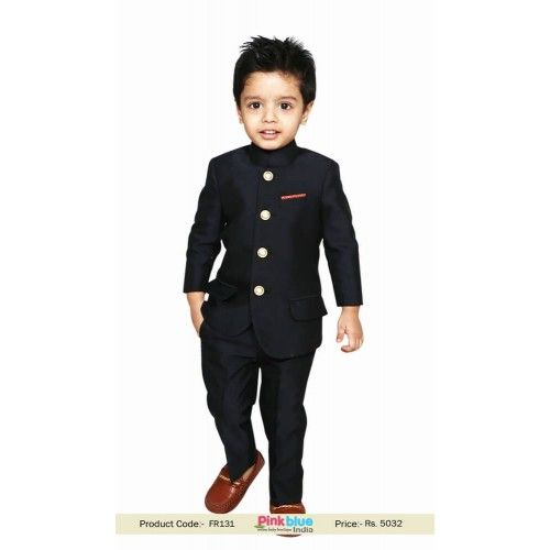 8090c28d4 Dashing Black Jodhpuri suit for Royal Weddings, Boys Bandhgala Indian  Traditional Suit with Four Buttons. Same fabric trouser comes along with  this.