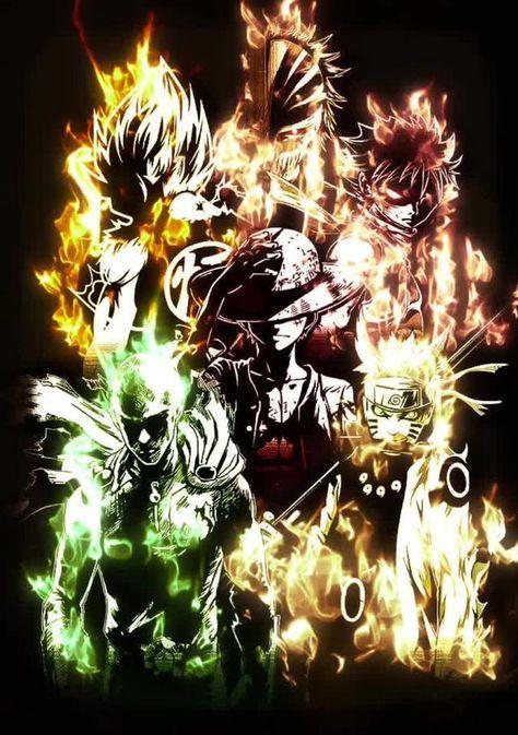 はらはら on tik tok ダイナミック壁紙 アニメ ルフィ ナツ サイタマ 悟空 ナルト crossover anime manga anime wallpaper anime