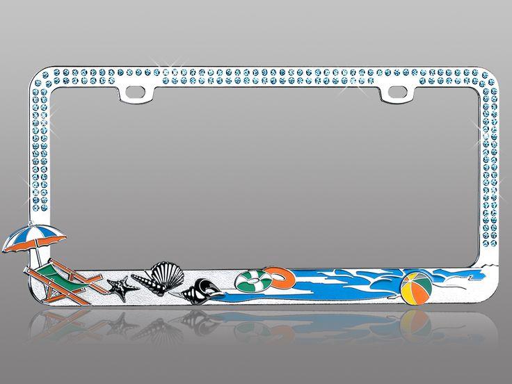 Crystal Car License Plate Frame Summer Beach