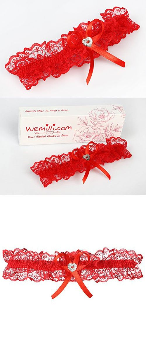 Bridal Red Lace Wedding Garter With Rhinestone Heart
