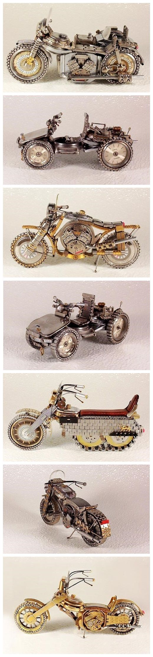 Motorcycles made from watch parts.