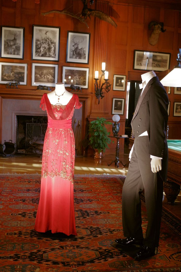 """#DowntonAbbey costumes inside #Biltmore House in Billiard Room - Asheville NC Lady Mary's evening dress and Matthew Crawley's """"White Tie"""""""