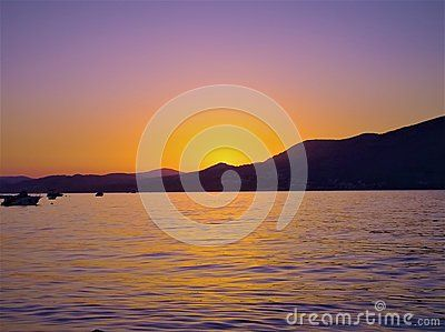 Dying sunset, as seen from Croatian island of Ciovo.