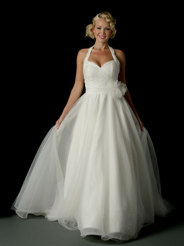 Ruched Halter Strap Tulle 2012 Ball Gown Wedding Dresses with Floral