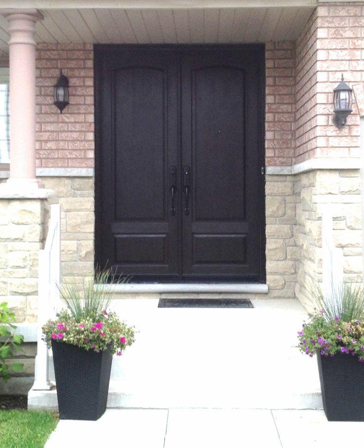 Admirable 2 Panel 8 Fiberglass Double Door Woodgrain In Dark Walnut Door Handles Collection Olytizonderlifede