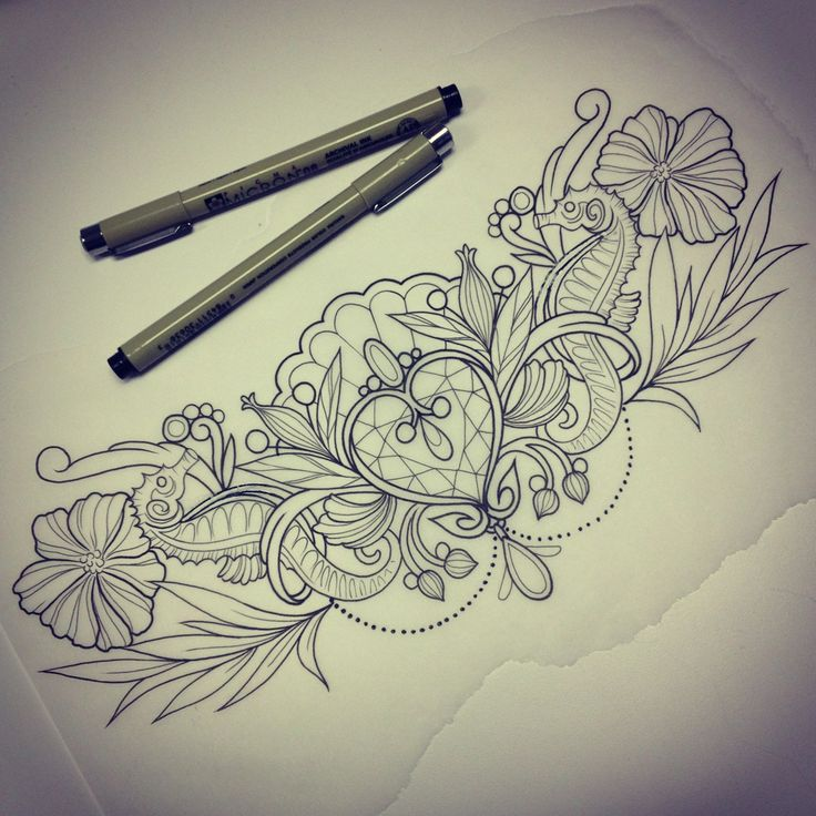 Dont Like The Sea Horses But A Lovely Sternum Tattoo Design