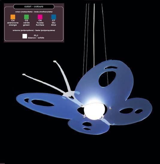 LAMPADA SOSPENSIONE FARFALLA LUX ART.1130  Art. TFL-1130     Lampada a luce diffusa.  Diffusore in metacrilato e polipropilene con struttura in metallo cromato.La lampada viene fornita sprovvista di lampadina.  Il colore va specificato al momento dell'acquisto.     Dimensioni: 50X57X130h cm.  Lampadina consigliata: 1X100 Watt attacco E27 - 1X23 Watt attacco E27