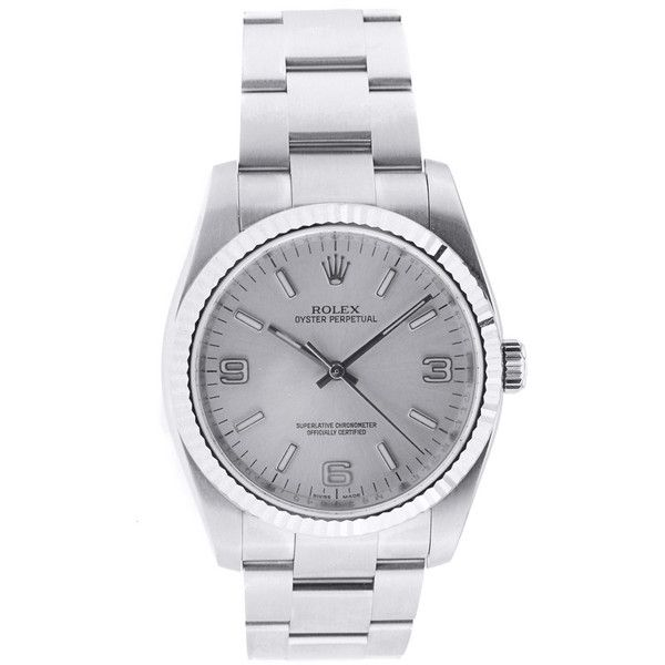 Pre-Owned Rolex Oyster Perpetual Blue Arabic Dial Flatlink Bracelet... found on Polyvore featuring jewelry, watches, jewels, grey, tri color bracelet, stainless steel watches, blue jewelry, bracelet watches and blue dial watches