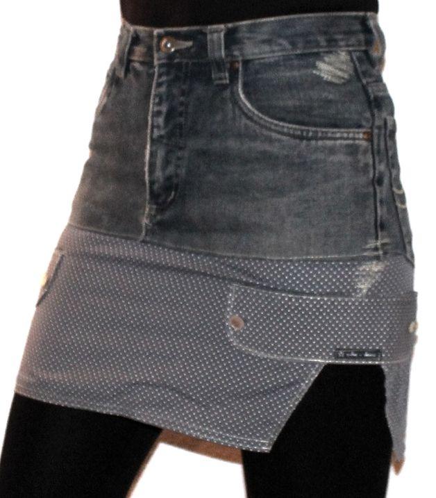 Jeansröcke - Jeansrock mit Pünktchen - ein Designerstück von s-he-does bei DaWanda