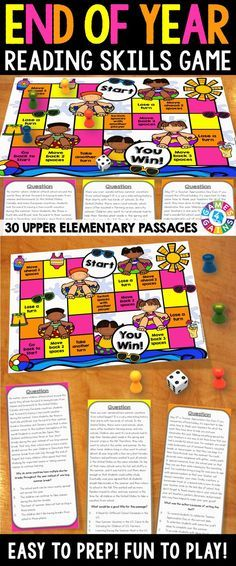 End of the Year Reading Comprehension Board Game contains 30 game cards and a game board to help students practice a variety of fiction and nonfiction reading skills. Each game card includes an end of the year/summer themed paragraph and a multiple choice question to assess students' understanding of main idea, inference, author's purpose, cause and effect, sequencing, theme, and more!