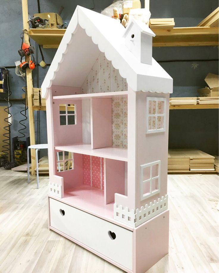 Купить Кукольный дом-стеллаж с узким ящиком и обоями - кукольный дом, кукольный домик