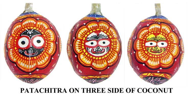 Lord Jagannath - Pata Painting on Three Sides of Hanging Coconut (Orissa Paata Painting on Coconut Shell)