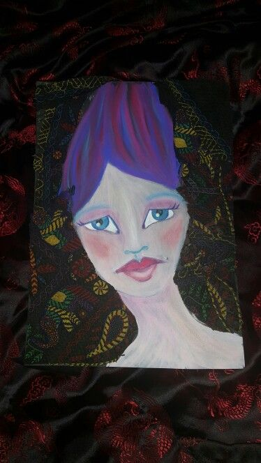 Acrylic painting, chalk pastel,  watercolor pencils, old fabric from old make up bag