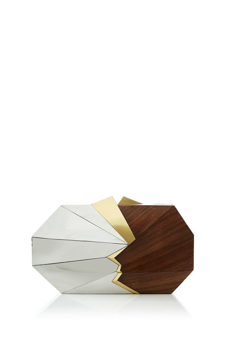 Teak Wood Max Box Clutch by Jill Haber for Preorder on Moda Operandi