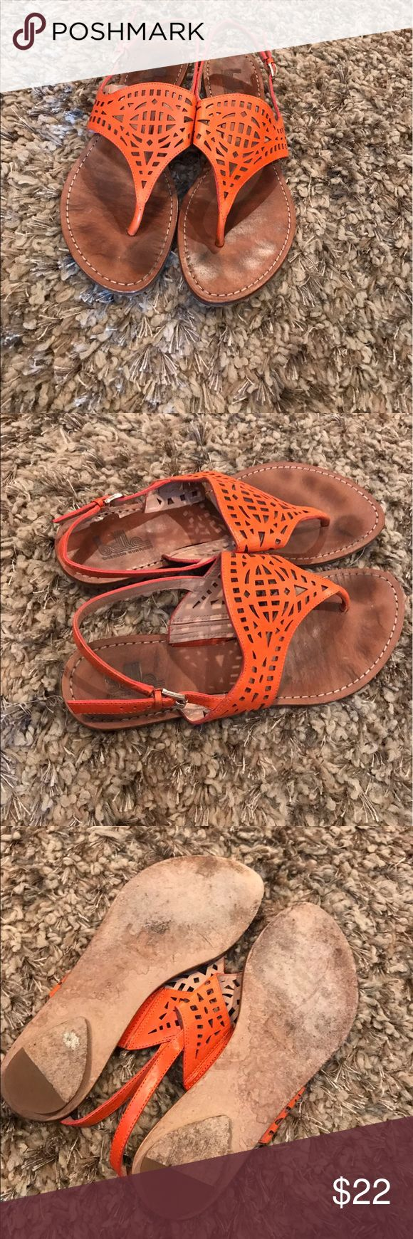 Belle Sigerson Morrison sandals Belle Sigerson Morrison orange adjustable flat sandals in good condition. There is wear on sole and toe area from use shown in pics. Shoes Sandals