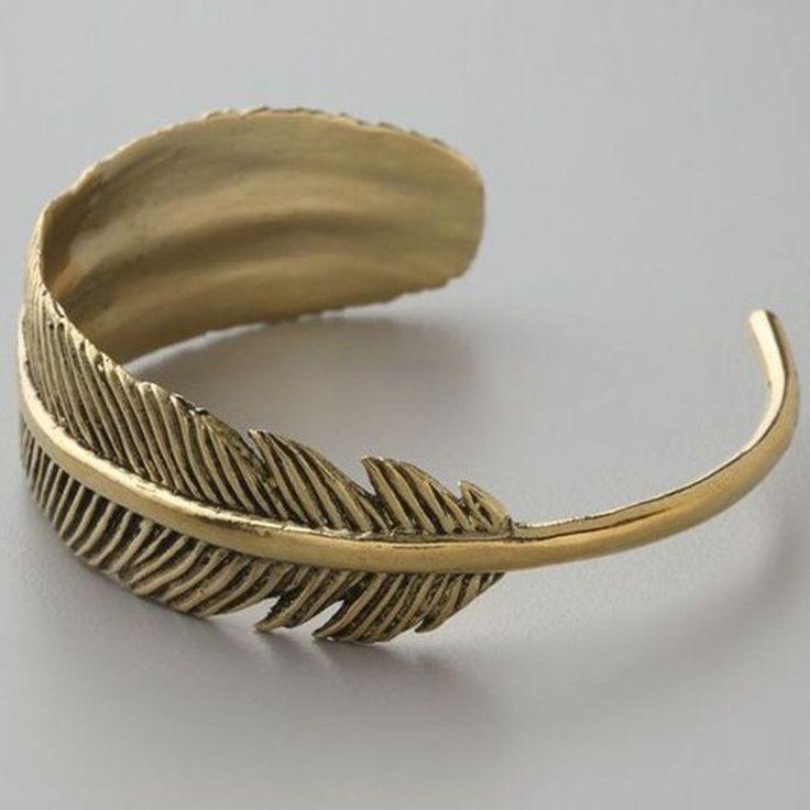 Vintage Exquisite Feather Cuff Bracelet women Bijoux