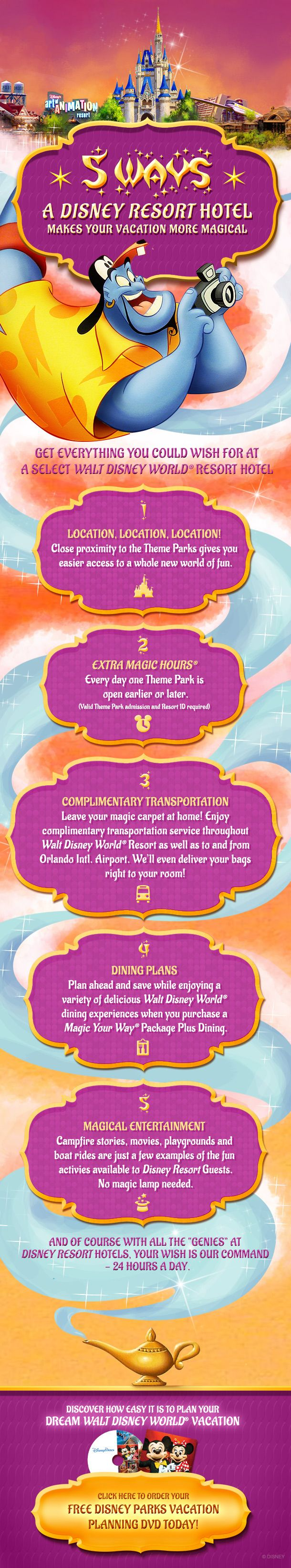 5 Ways a Disney Resort Hotel makes your vacation more Magical! Click to order your FREE Disney Parks Vacation Planning DVD Today! #WaltDisneyWorld #Aladdin #Genie