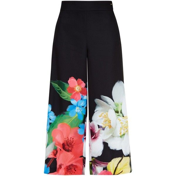 Ted Baker Milinda Forget Me Not culottes ($185) ❤ liked on Polyvore featuring pants, capris, black, women, pocket pants, side zip crop pants, loose fitting pants, ted baker pants and side zipper pants