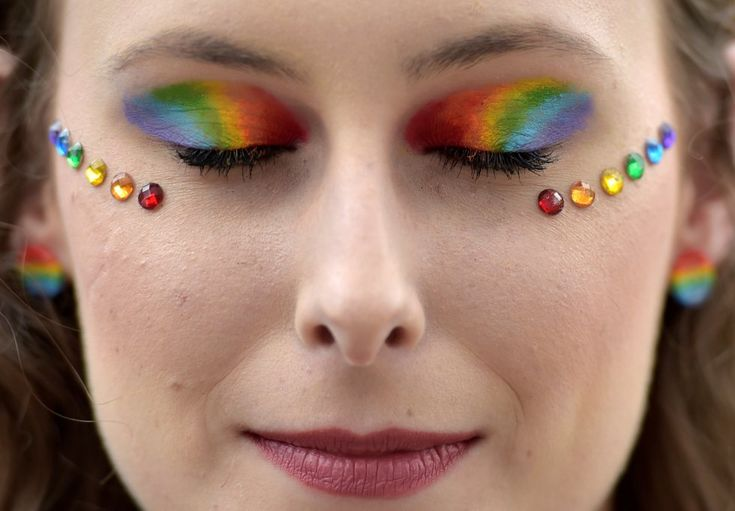 A participant with her eyes rainbow colors maked up takes part at the annual Belgian LGBT Pride Parade in central Brussels, Belgium May REUTERS/Eric Vidal Ball Makeup, Eye Makeup, Stonewall Riots, Pride Parade, Halloween Makeup Looks, Daily Photo, Rainbow Colors, Lgbt, Cool Pictures
