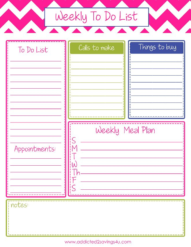Task List Sample In Printable Weekly To Do Forms Free \u2013 jamesstone