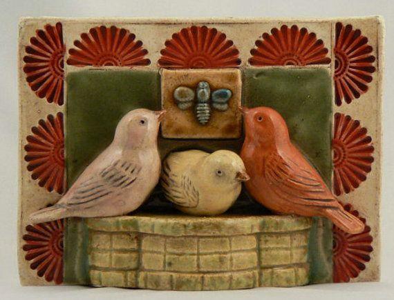 Ceramic Tile Three Birds: Ceramika Figs, Three Birds, Ceramics Birds, Tile Three, Ceramics Tile, Birds Tile, Beautiful Birds, Birds Ceramics, Birds Crafts