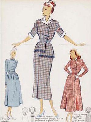 Эскизы моделей женской одежды 1940-х