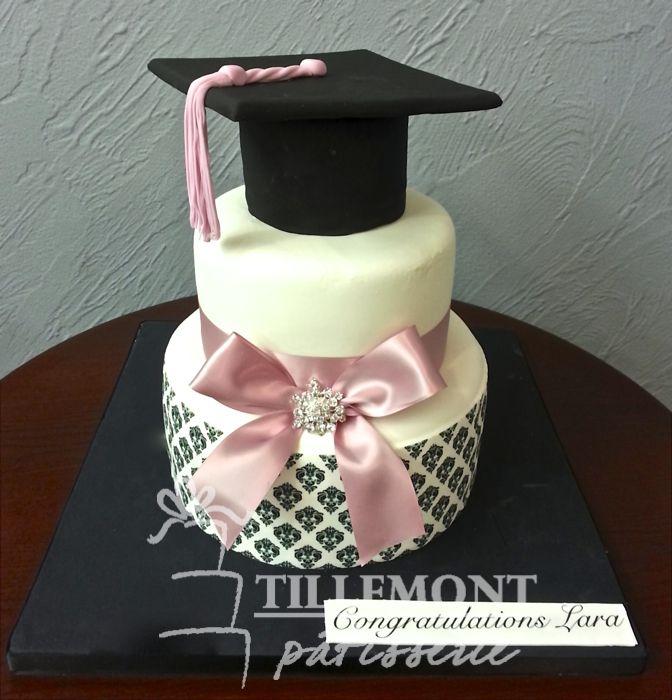 Adorable pink and black Graduation Cake