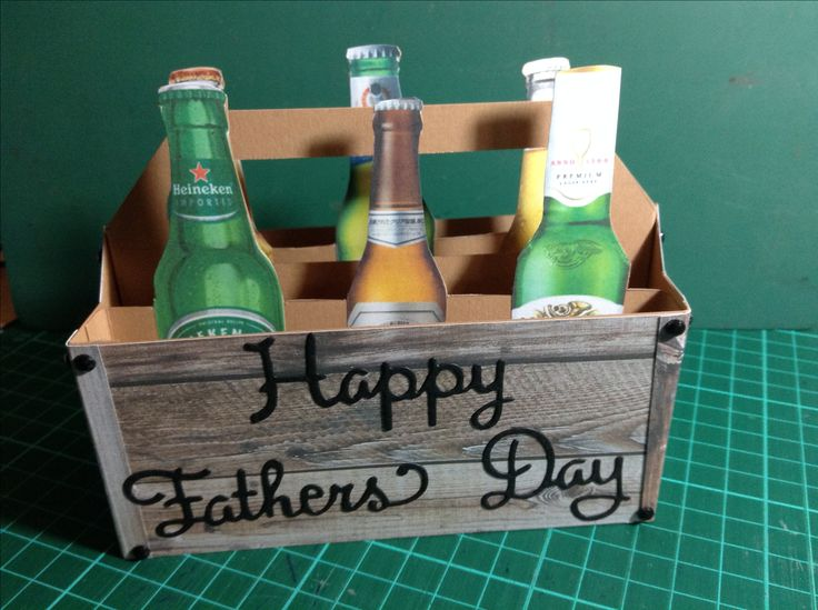 Father's Day 6 pack, printed and cut out beer bottles, crate made of designer wood grain paper, happy father's day die cuts, black diamonties