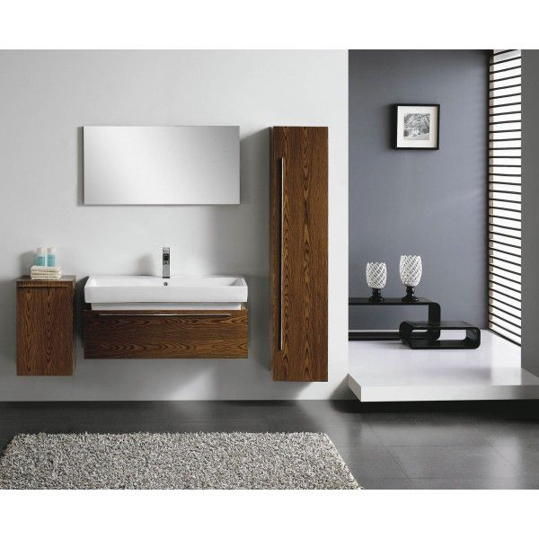 Moderna With Double Side Storage | Best Value Bathroom Furniture in Ireland.  Contemporary wall hung vanity unit with side cabinets and soft closing drawer.  Perfect for a medium to large sized bathroom.      Measurements  Description:  Dimension (MM): Main Cabinet1000*490*450 Mirror1000*20*500 Left Side Cabinet350*300*600 Right Side Cabinet   350*300*1600