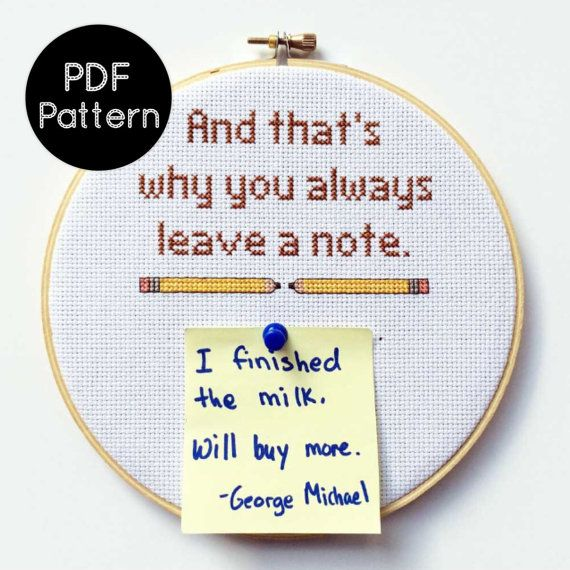 PATTERN - And that's why you always leave a note - Arrested Development Cross Stitch Quote - Funny Cross Stitch Pattern