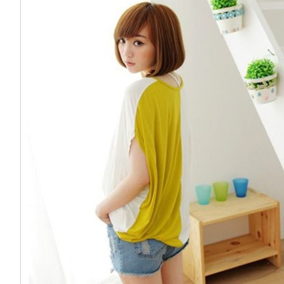 #181 Yellow & White Batwing Shirt Yellow & white batwing shirt, 100% cotton. Tops