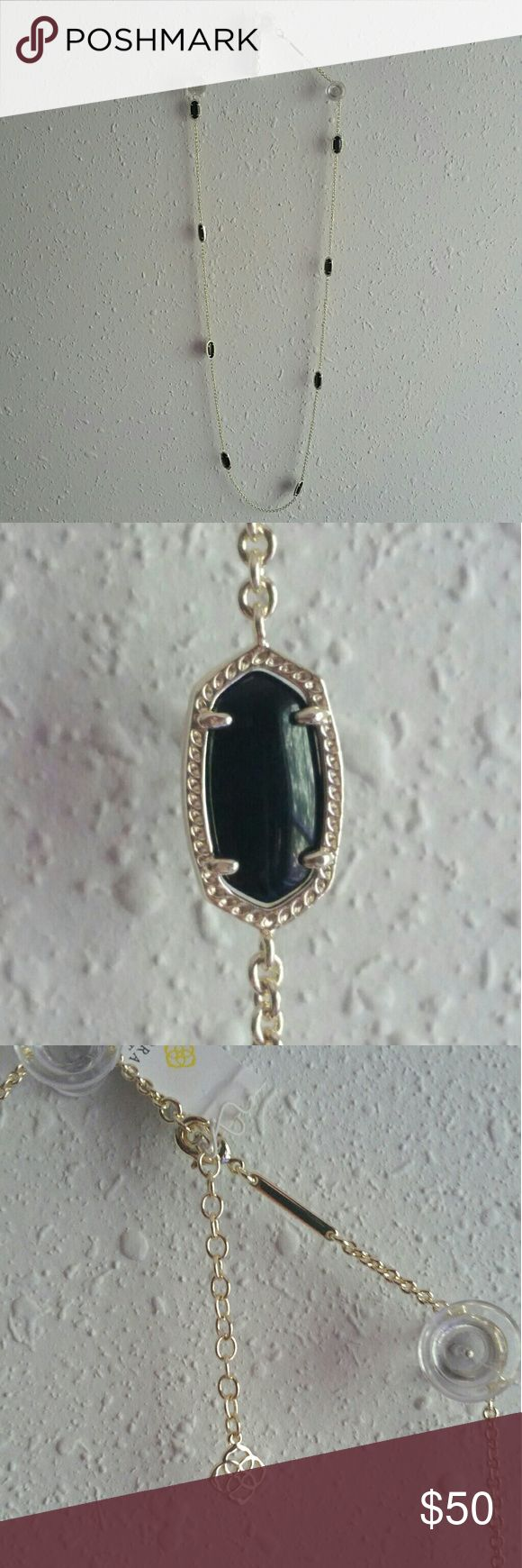 """Kendra Scott Kelsie Silver and Black Long Necklace Long, silver chain with black stones by Kendra Scott. Brand new with tags. Gorgeous and on-trend! This necklace would be perfect for layering. Or, wear it alone to make a simple statement. Chain is approximately 36"""" long, plus some adjustable length at clasp, ending in distinctive Kendra Scott charm. Kendra Scott Jewelry Necklaces"""